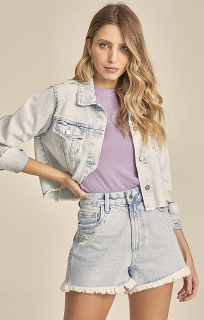 JAQUETA JEANS CROPPED DENIM